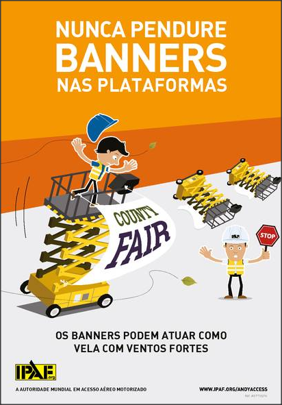A IPAF adverte: não utilize banners nas plataformas de tesoura